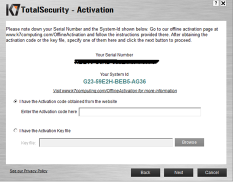 k7 ultimate security activation serial key